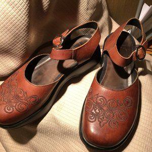 Dansko Mary Jane Brown Leather Clogs, 9.5